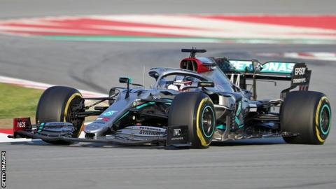 Mercedes F1 driver Lewis Hamilton driving the 2020 car in testing