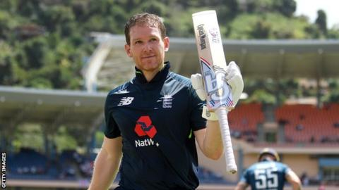 England captain raises his bat as he walks off after being dismissed for a century in the fourth ODI against West Indies