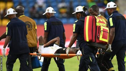 Baba Rahman was stretchered off the pitch after only 39 minutes of the match against Uganda