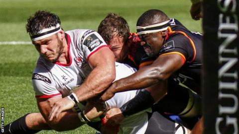 Coetzee stretches to score an Ulster try against Southern Kings last season