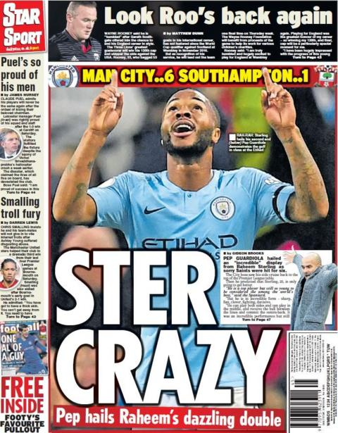 Star back page on Monday