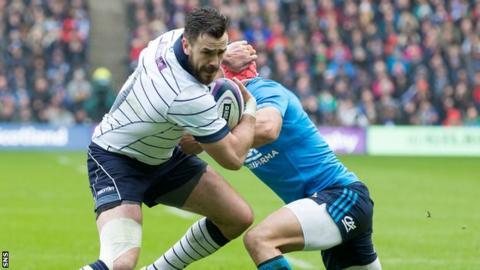 Alex Dunbar in action for Scotland