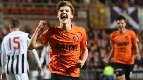 Dundee United's Blair Spittal celebrates having scored his side's second in extra time