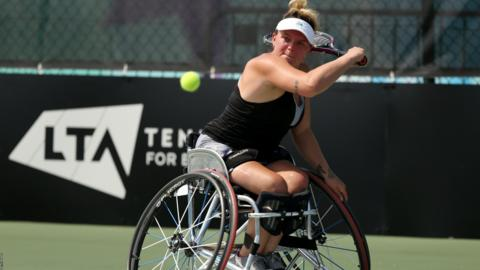 NOTTINGHAM, ENGLAND - JULY 25: Jordanne Whiley of Great Britain during her match against Diede De Groot of Netherlands on day three of the LTA British Open Wheelchair Tennis Championships at Nottingham Tennis Centre on July 25, 2019 in Nottingham, England. (Photo by Paul Harding/Getty Images for LTA)