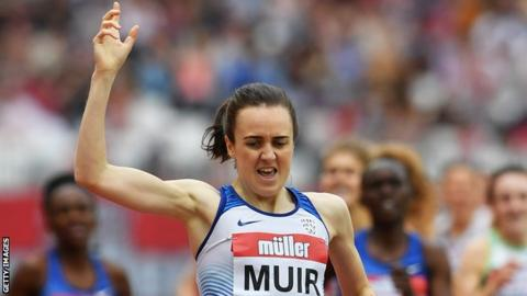 Laura Muir ran a strong last lap to win comfortably in London