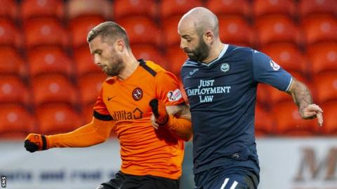 Dundee United's Pavol Safranko battles with Partick Thistle's Gary Harkins.