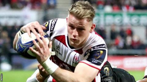 Craig Gilroy scores the third of Ulster's six tries against Harlequins