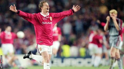 Ole Gunner Solskjaer celebrates at the end of the 1999 European Cup final