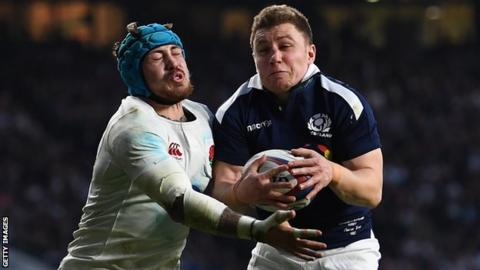 Duncan Weir playing for Scotland against England