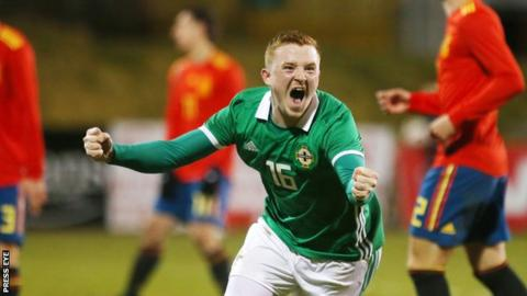 Shayne Lavery scored for the Northern Ireland U21s in their 3-5 defeat by Spain in March