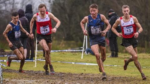 Scotland duo Jamie Crowe (l) and Andy Butchart (third from left) race against Welsh duo Kristian Jones and James Hunt (r)