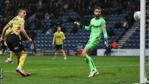 Millwall's Shaun Hutchinson headed his fifth goal of the season to claim all three points at Deepdale