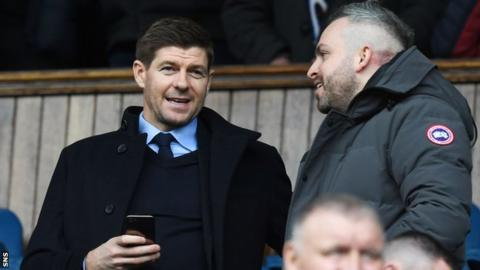 Liverpool youth coach Steven Gerrard (left) at Ibrox in March