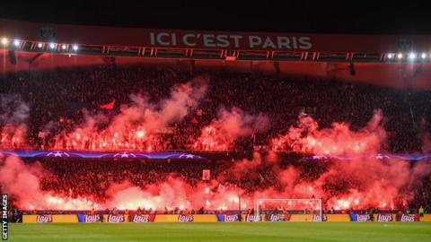 PSG fans before match against Real Madrid