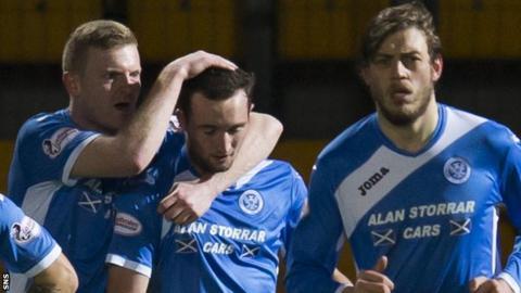 St Johnstone celebrate a goal by Chris Kane (centre)