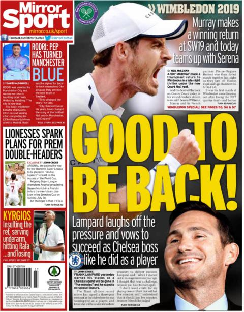 The Mirror and many other papers carry new Chelsea manager Frank Lampard on their back page