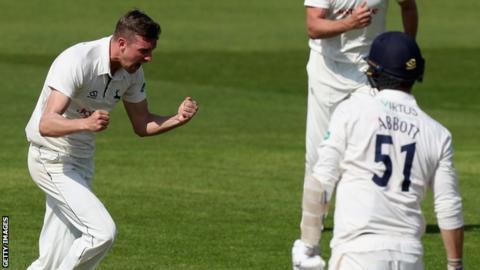 Jake Ball celebrates a wicket