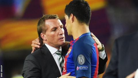 Brendan Rodgers with Luis Suarez at the Nou Camp