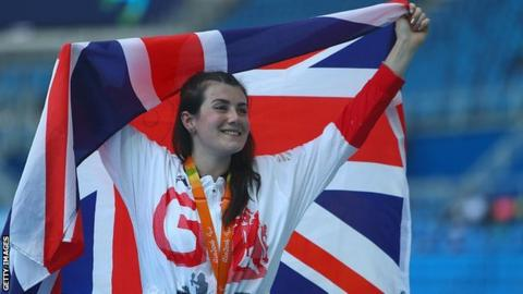 Hollie Arnold celebrates gold at Rio 2016