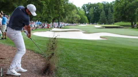 Jason Day in final-round action at the Wells Fargo Championship