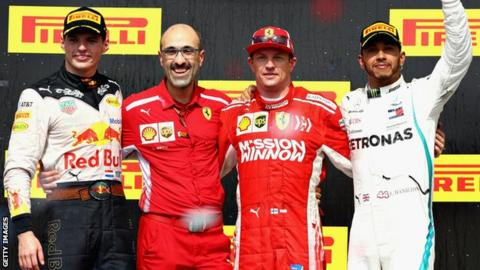 Max Verstappen, Kimi Raikkonen and Lewis Hamilton along with a Ferrari engineer