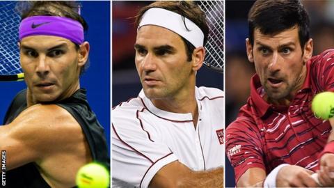 Spain's Rafael Nadal, Switzerland's Roger Federer and Serbia's Novak Djokovic