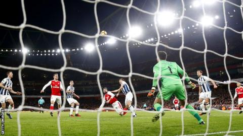 Olivier Giroud scores his fourth top flight goal of the season with his effort against West Brom
