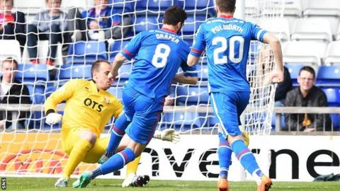 Kilmarnock's Jamie MacDonald (left) challenges Ross Draper