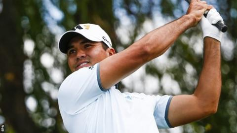 Heavy rain in Lake Forest, Illinois has not stopped Jason Day's progress