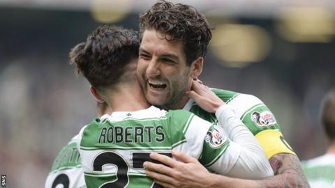 Celtic players Patrick Roberts and Charlie Mulgrew
