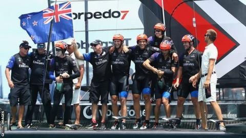 Peter Burling and New Zealand celebrate America's Cup win
