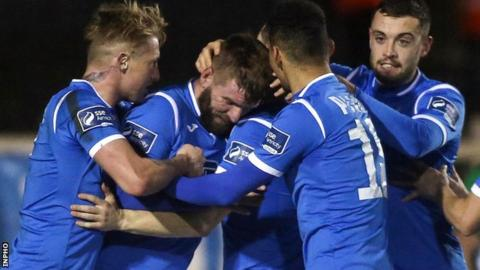 McCourt celebrates scoring against Limerick in Finn Harps' first-leg win