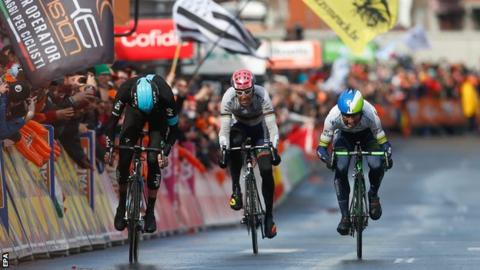 Wout Poels, Michael Albasini and Rui Costa at end of Liege-Bastogne-Liege