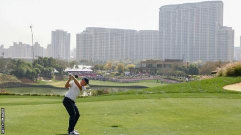 Matt Wallace on the 18th at the Indian Open