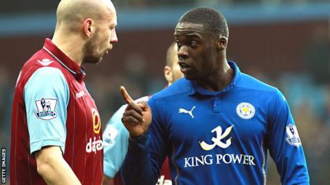 Leicester's Jeff Schlupp (right) and Alan Hutton of Aston Villa