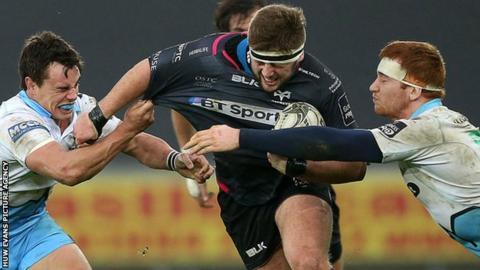 Scott Otten in action for Ospreys against Glasgow