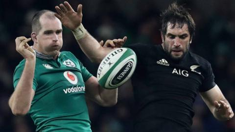 Ireland's Devin Toner and New Zealand's Sam Whitelock contest a line-out