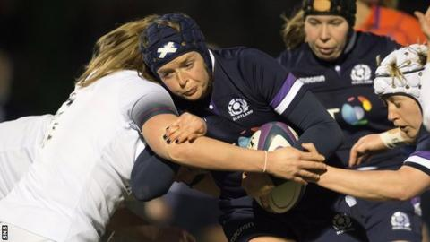 Scotland's Sarah Bonar carries the ball against England in the 2018 Six Nations