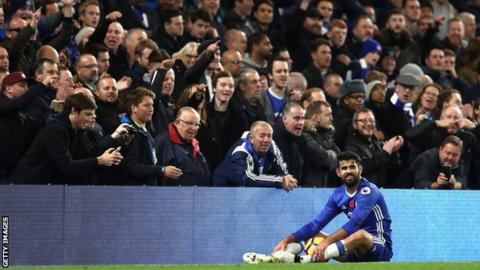 Diego Costa in front of fans
