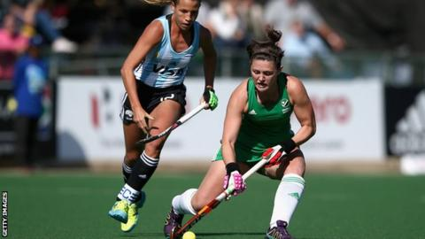 Defina Merino gives chase to Ireland goalscorer Roisin Upton in Tuesday's quarter-final