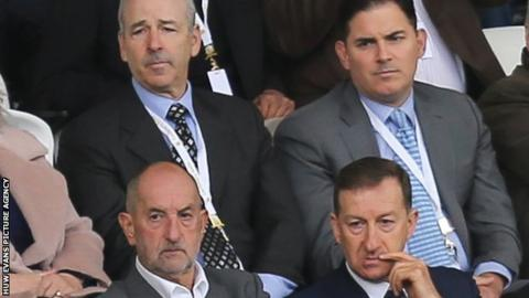 Swansea City's American owners Stephen Kaplan, back left, and Jason Levien, back right, with chairman Huw Jenkins, front right