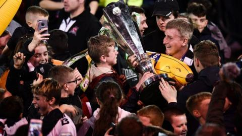 Stephen Kenny celebrates with fans