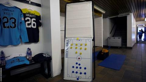 The away dressing room at Meadowbank Stadium