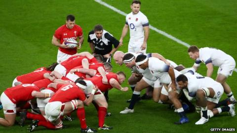 Wales and England scrum