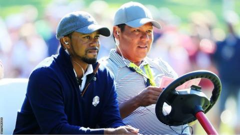 Tiger Woods and Notah Begay III during the Ryder Cup