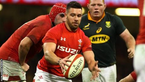 Rhys Webb in action for Wales against South Africa