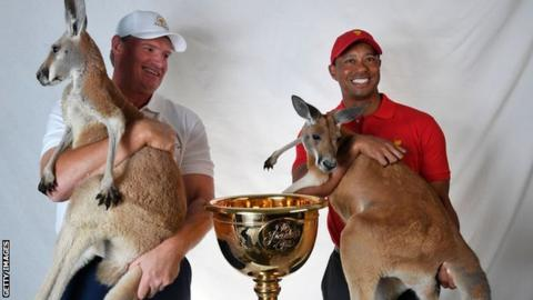 Presidents Cup captains Ernie Els and Tiger Woods