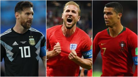 Lionel Messi, Harry Kane and Cristiano Ronaldo