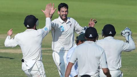 New Zealand's Will Somerville celebrates