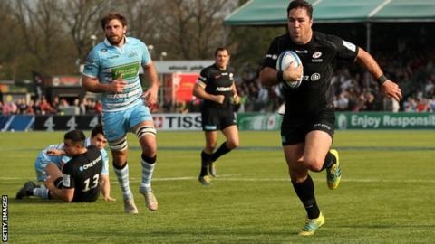 Saracens' Brad Barritt races in for one of their seven tries